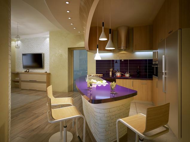 Zobacz galerię zdjęć Kuchnia z barkiem  oryginalny projekt kuchni z salonem   -> Kuchnia Z Wyspą I Salonem