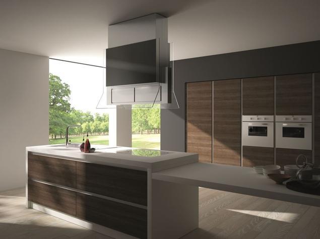 Okap wyspowy w nowoczesnej aranżacji kuchni