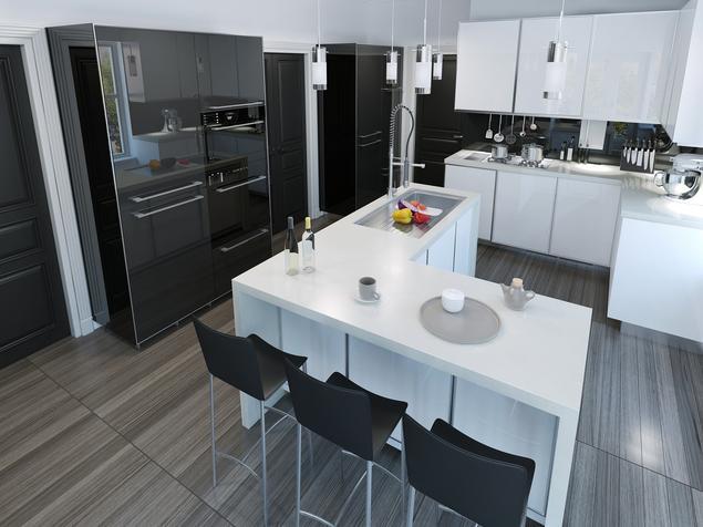 Zobacz galerię zdjęć Biało czarna kuchnia i wyspa kuchenna   -> Kuchnia Z Wyspa Czarna